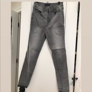 High waisted grey skinny jeans